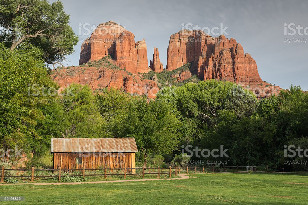 Summer evening at Oak Creek Canyon, Sedona. stock photo