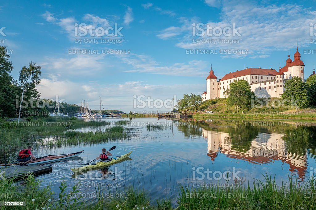 Summer evening by Lake Vanern in Sweden stock photo