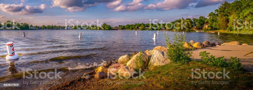 Summer evening fun at the lake stock photo