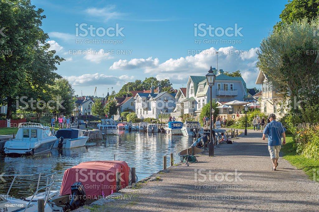 Summer evening in Trosa, Sweden stock photo
