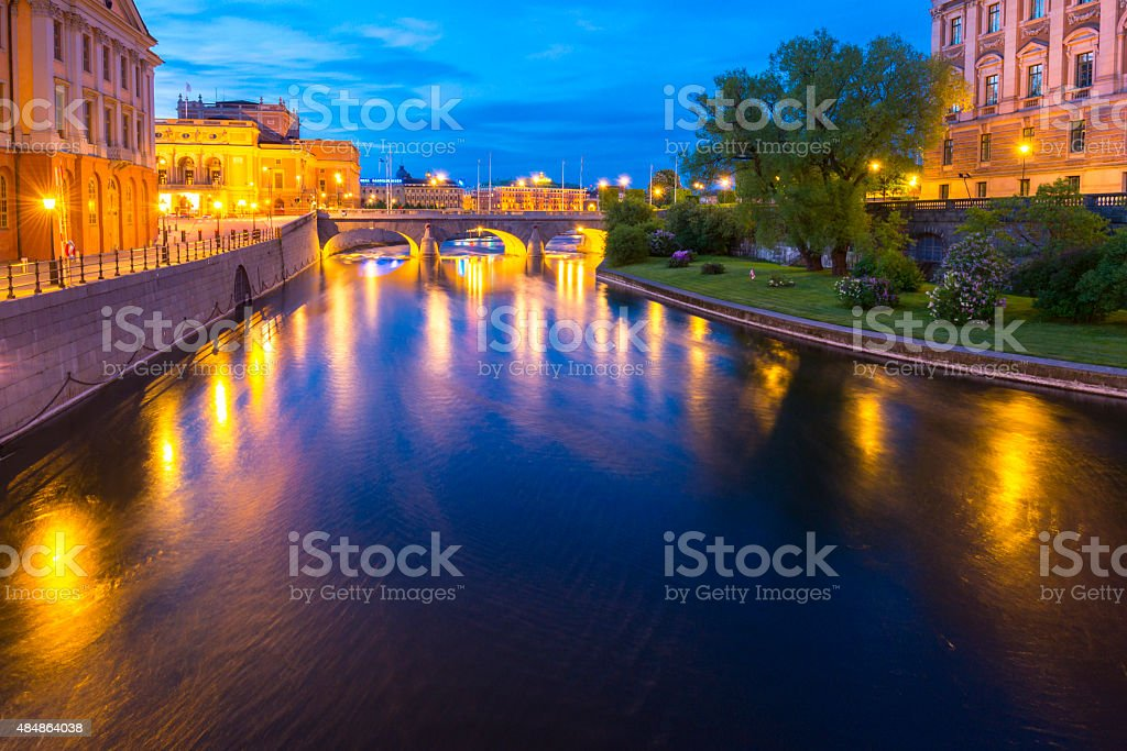 Summer evening panorama of the Old Town in Stockholm, Sweden stock photo