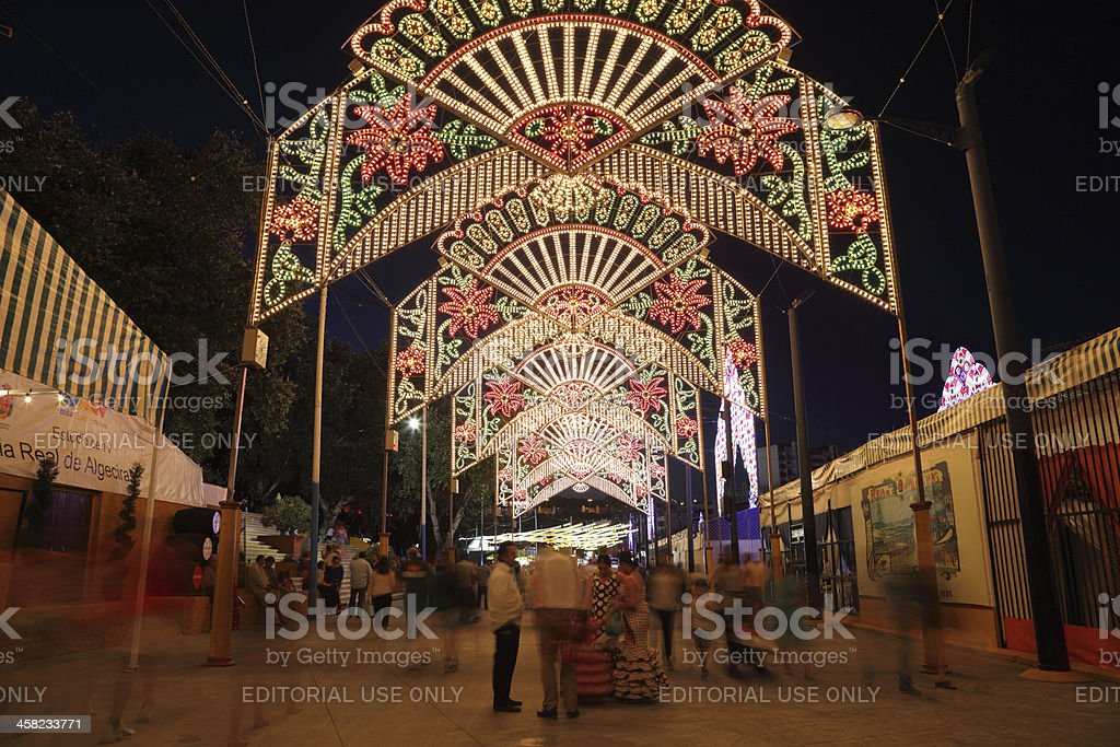 Summer fair at night. Andalusia, Spain royalty-free stock photo