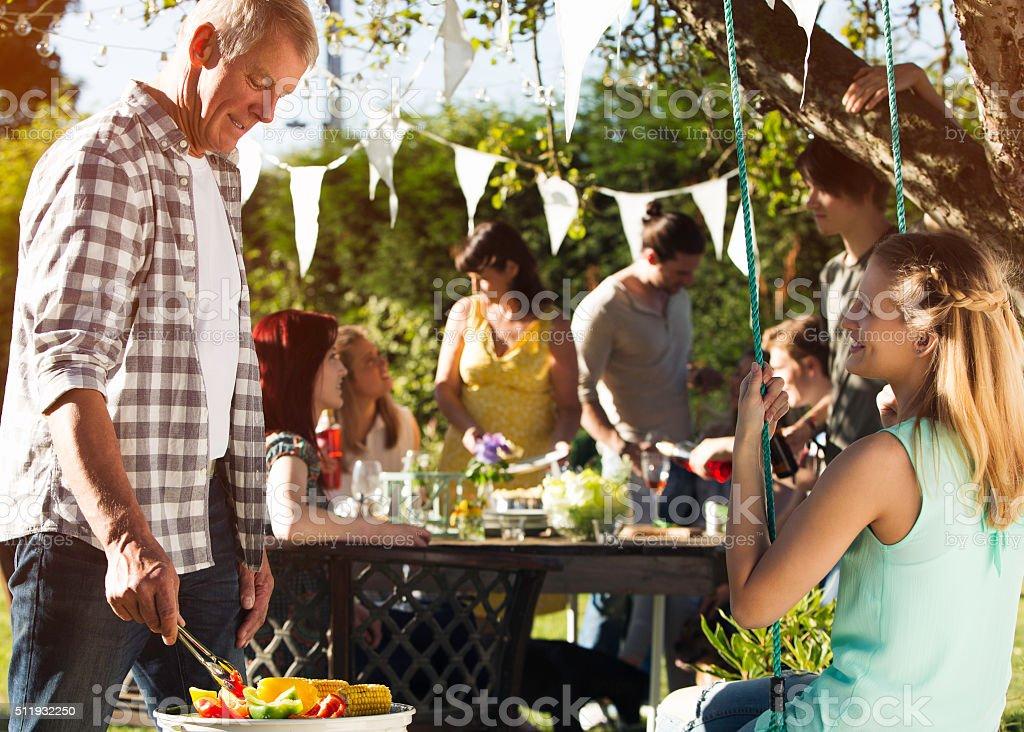 Summer Family BBQ stock photo