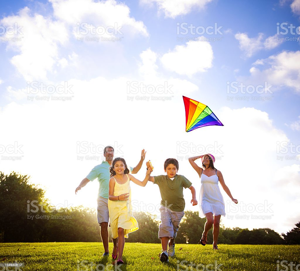 Summer Family fun in the Park stock photo