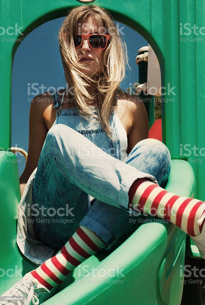 Summer fashion blond women stock photo