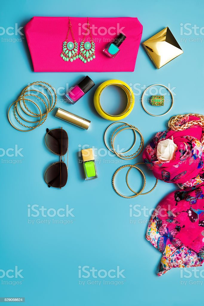 Summer Fashion Flat Lay stock photo
