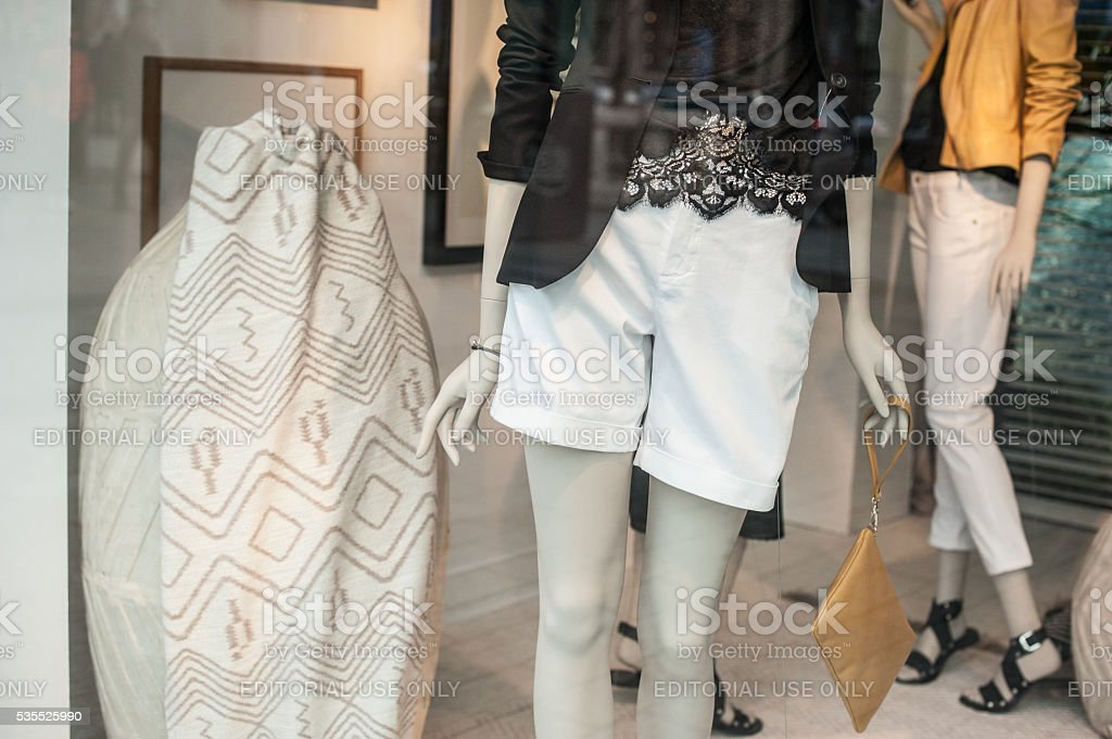 Summer fashion window display in Paris stock photo