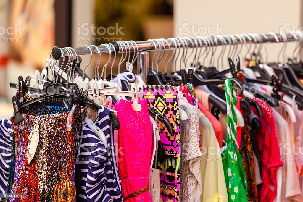 Summer Female Dresses at a Store stock photo