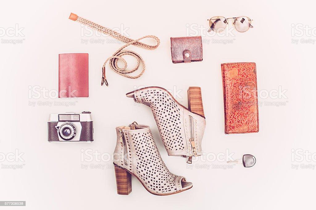 Summer Female Travel Fashion stock photo