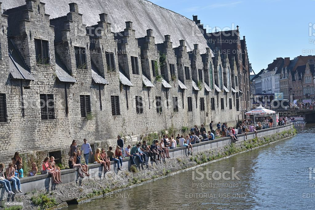 Summer Festival in Olf City of Ghent stock photo