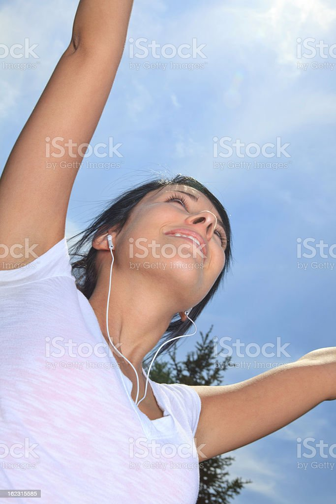 Summer Field - Woman Win royalty-free stock photo