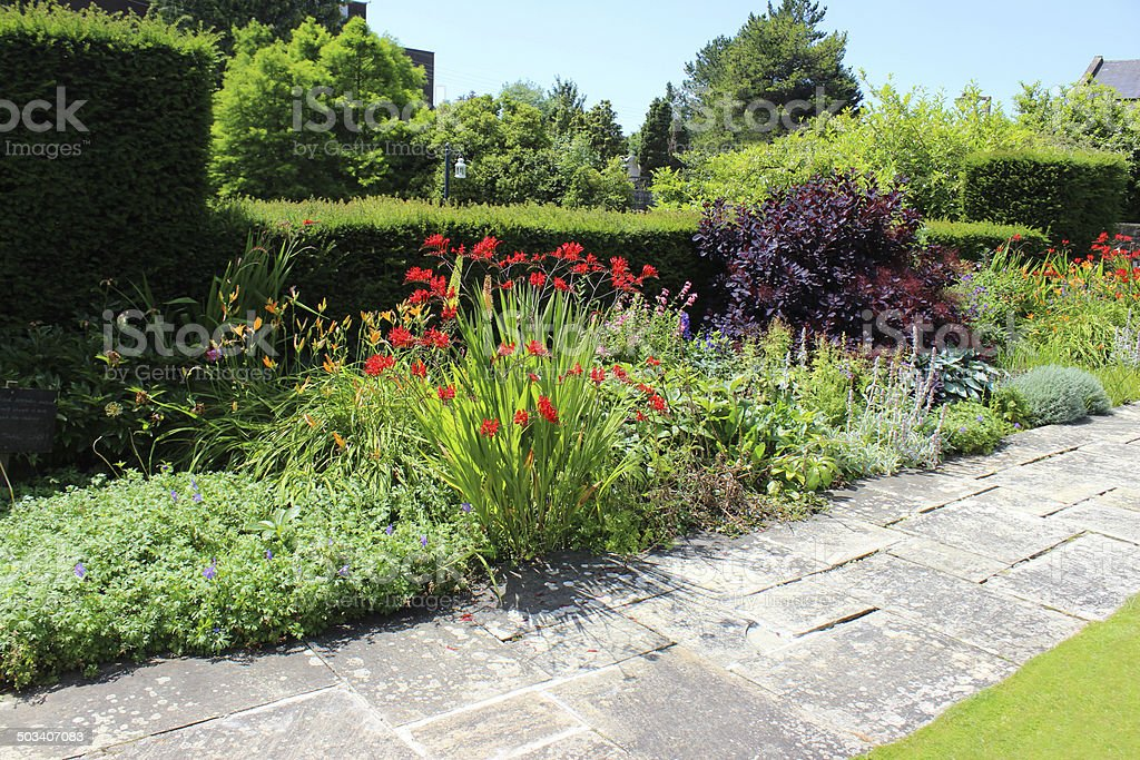 Summer flower bed / herbaceous border, daylilies, crocosmia, geraniums, stachys, penstemon stock photo