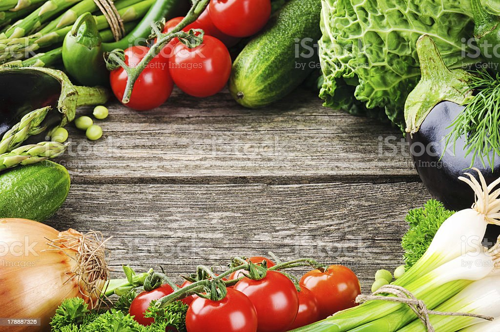 Summer frame with fresh organic vegetables royalty-free stock photo