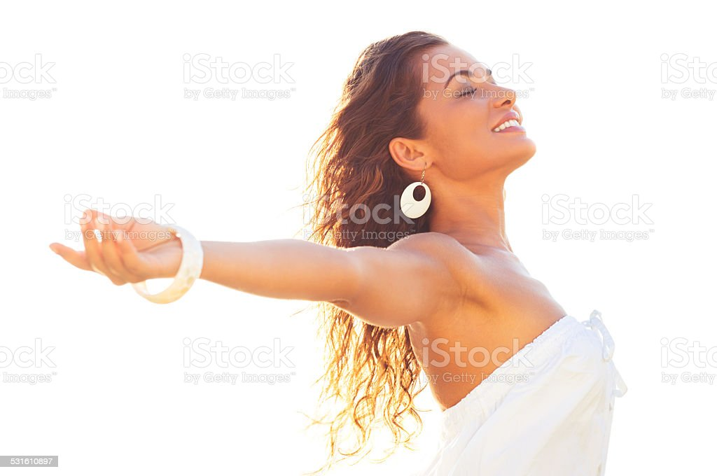 Summer Freedom Girl stock photo