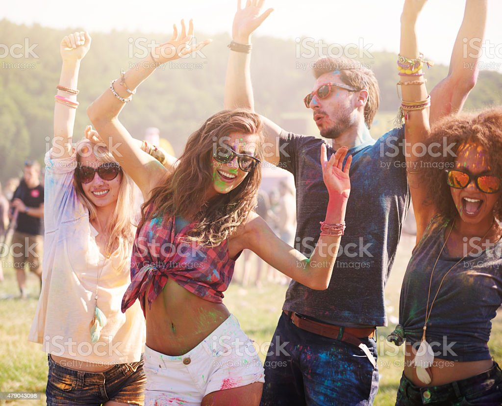 Summer, friends and good music! stock photo