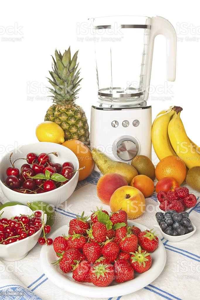 Summer fruit and smoothie blender royalty-free stock photo