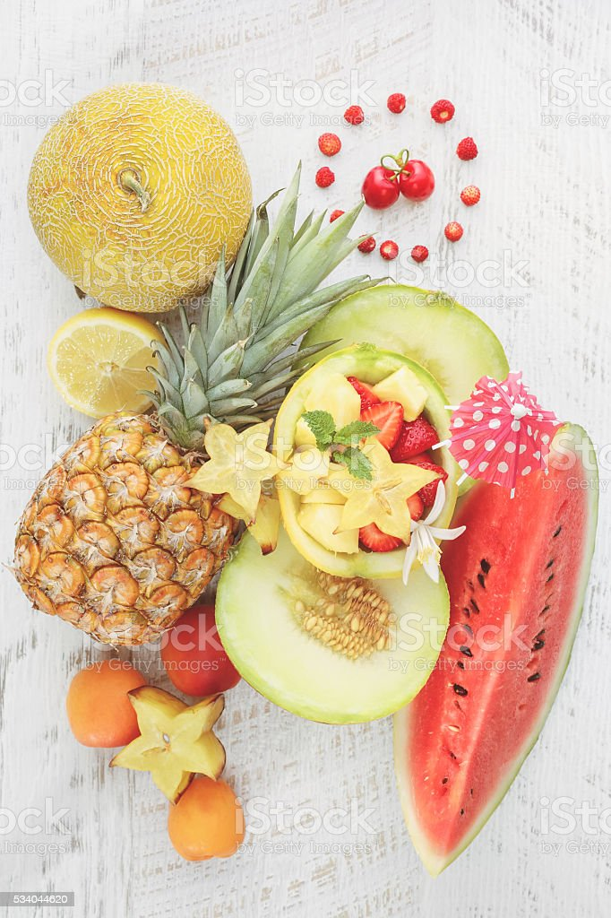 Summer fruit background stock photo
