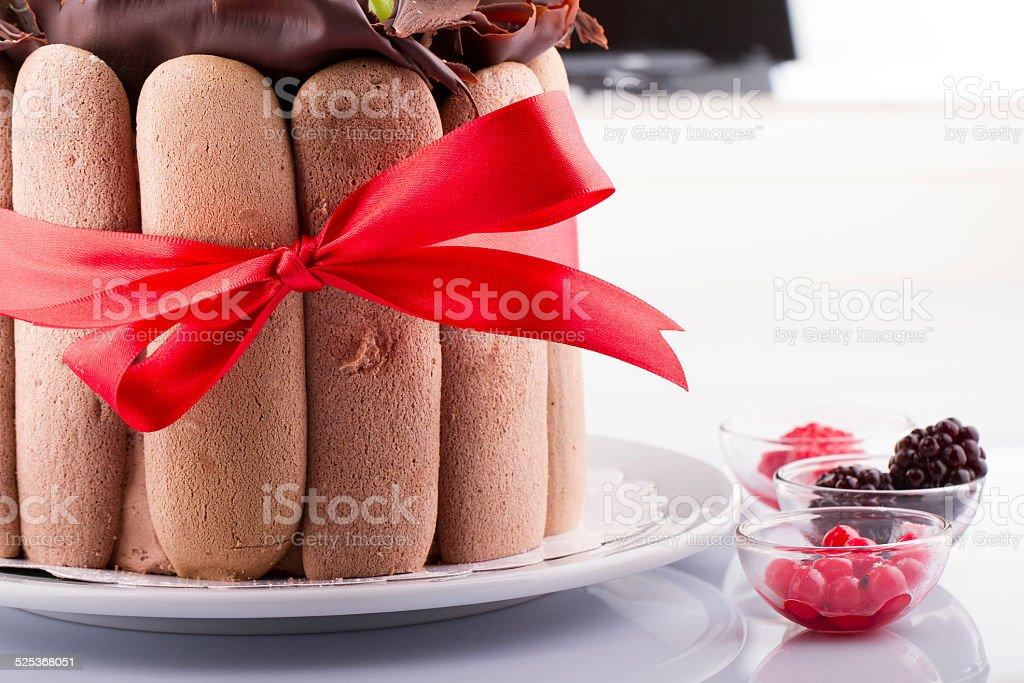 Summer Fruit Cake Tiramisu With Bow Tie on White Background stock photo