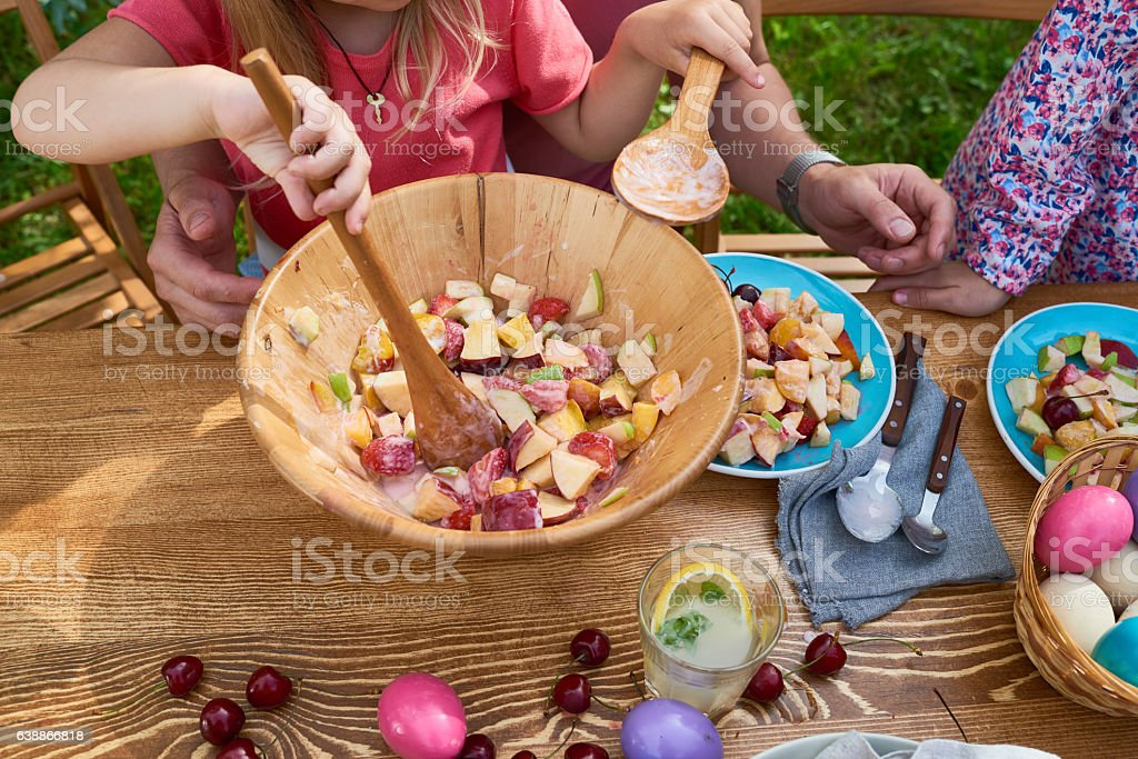 Summer fruit salad stock photo
