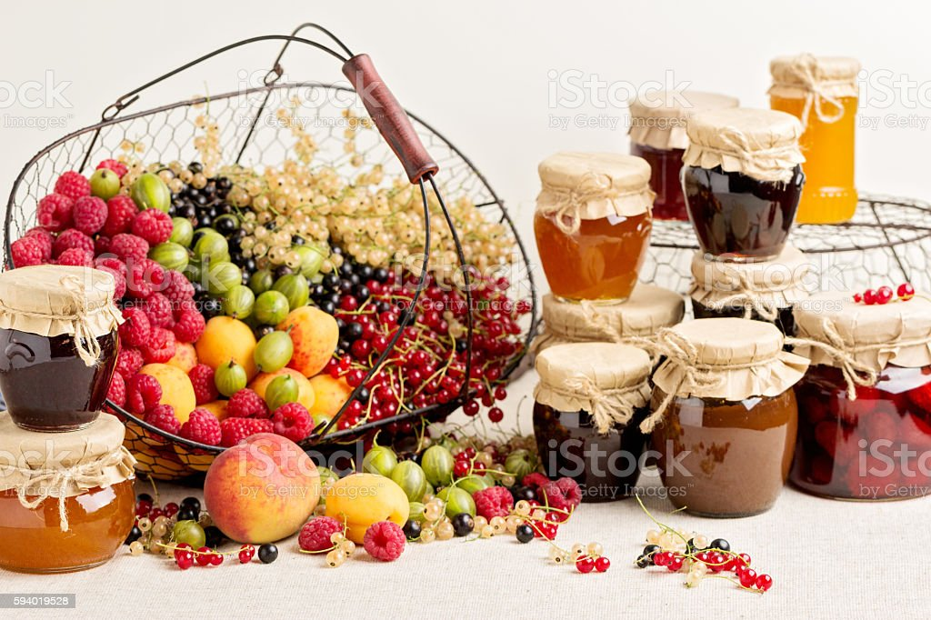 Summer fruits and berries - red, black and white currants stock photo