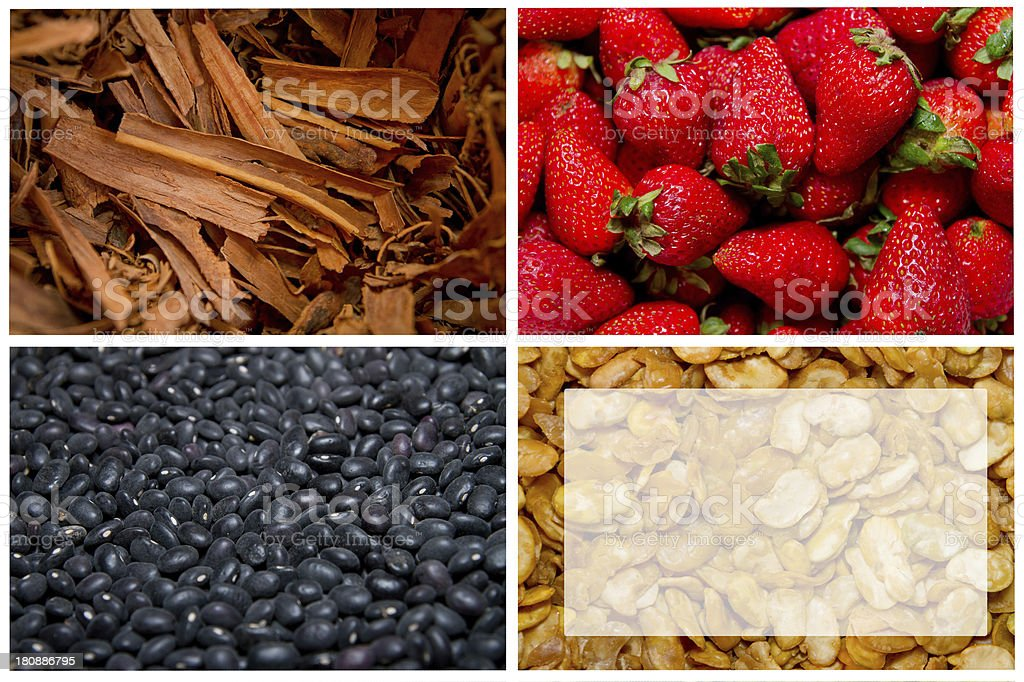 Summer fruits and vegetables, colorful four way collage royalty-free stock photo