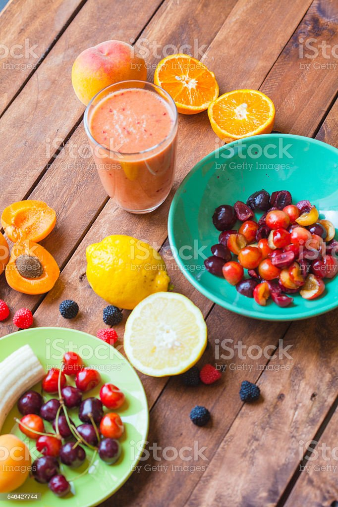 Summer Fruits Smoothie stock photo