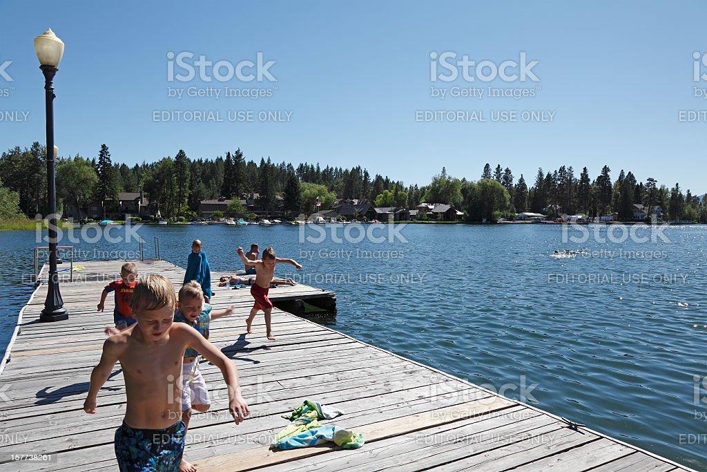 Summer Fun At The Lake stock photo