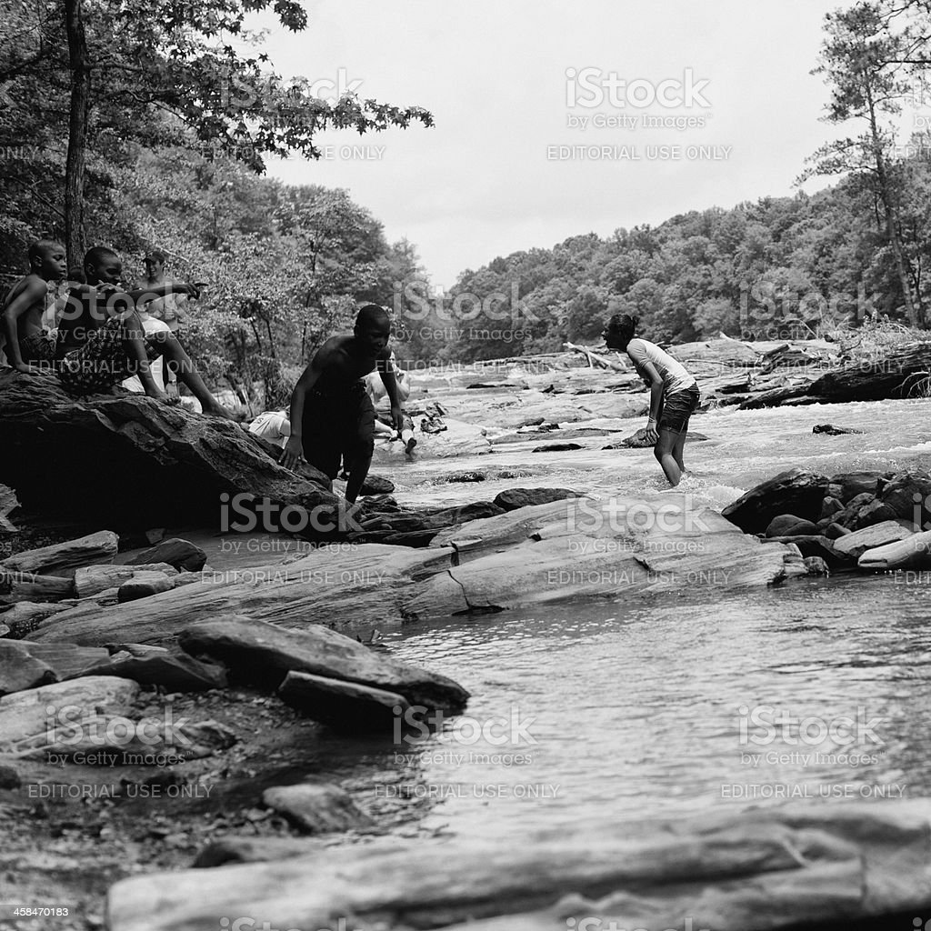 Summer fun at the river stock photo