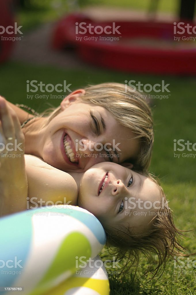 Summer fun in the wading pool royalty-free stock photo
