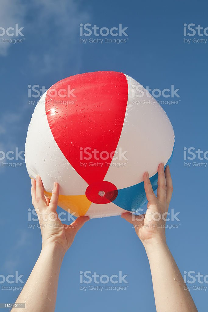Summer Fun Playing with Beach Ball: royalty-free stock photo