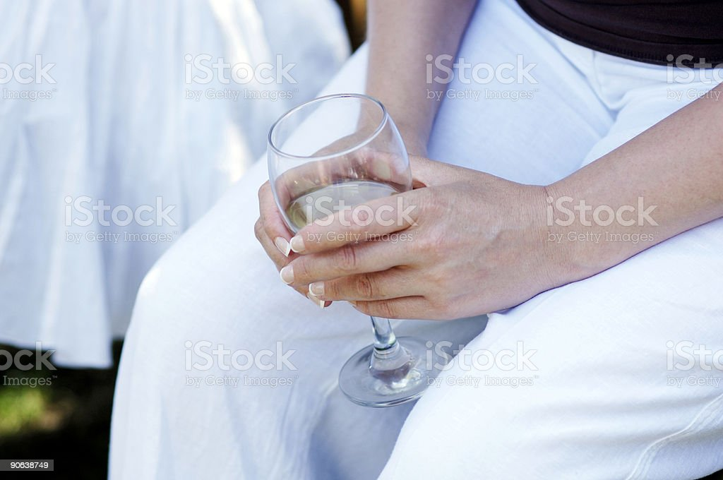 summer garden party, lady with wine glass royalty-free stock photo
