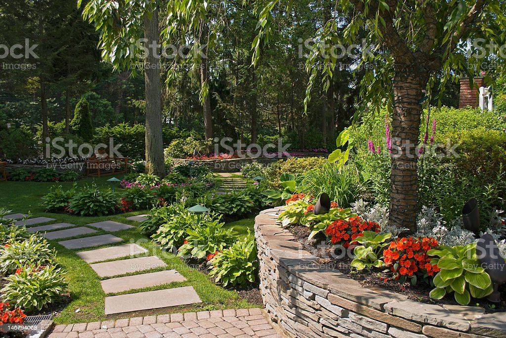 Summer garden with stone wall and path stock photo