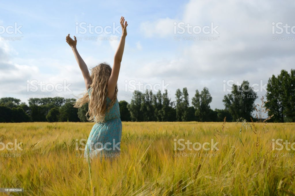 Summer girl in a barley field, arms outstretched royalty-free stock photo