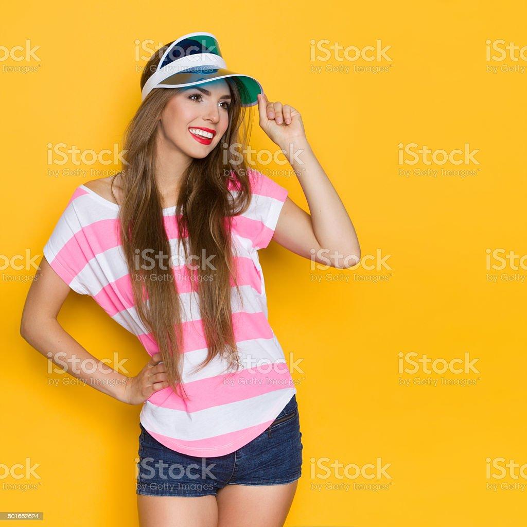 Summer Girl In Sun Visor Cap stock photo
