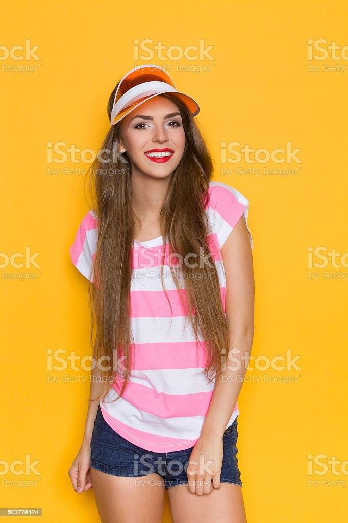 Summer Girl In Sun Visor stock photo