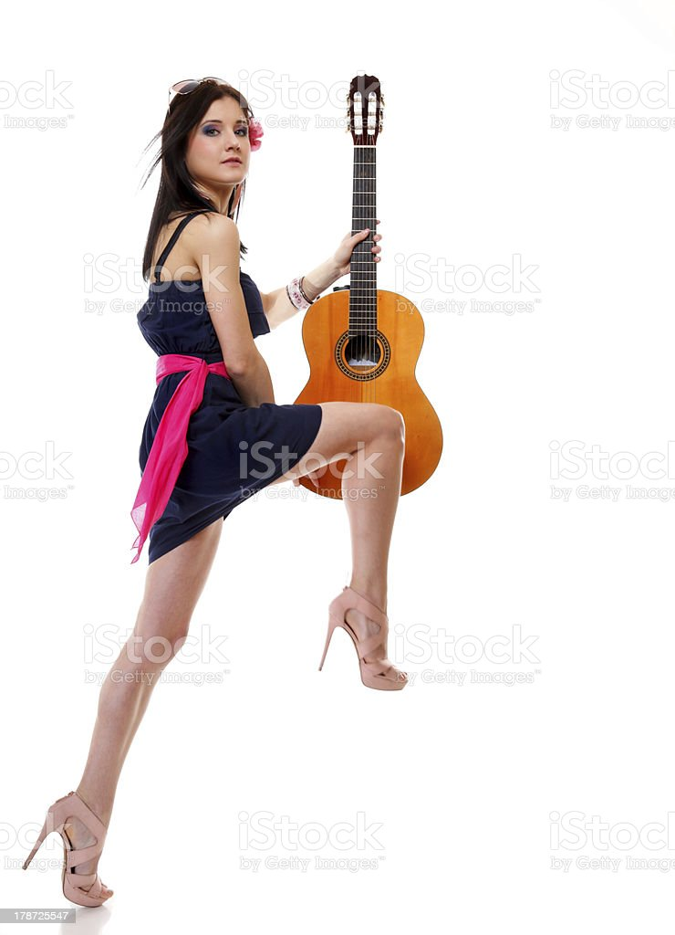 summer girl with guitar on white background royalty-free stock photo