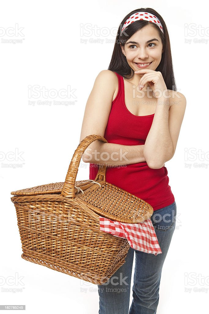 Summer Girl with Picnic Basket royalty-free stock photo