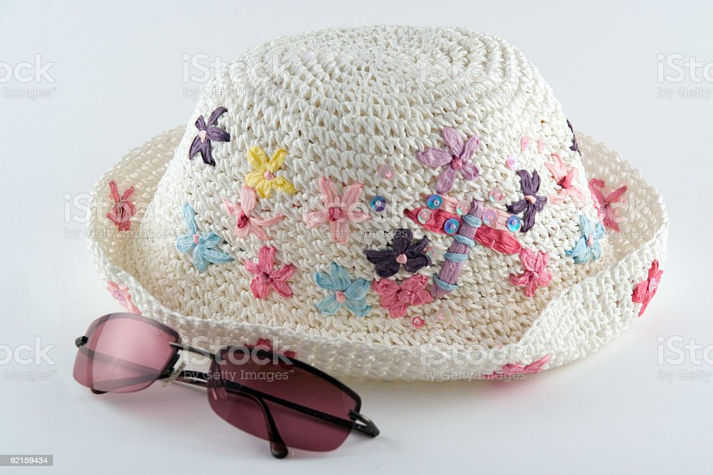 Summer Hat and Sunglasses royalty-free stock photo