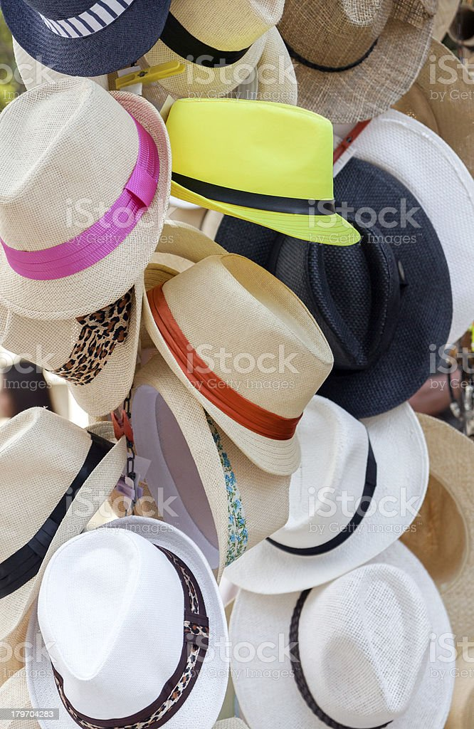 Summer hats for sell royalty-free stock photo