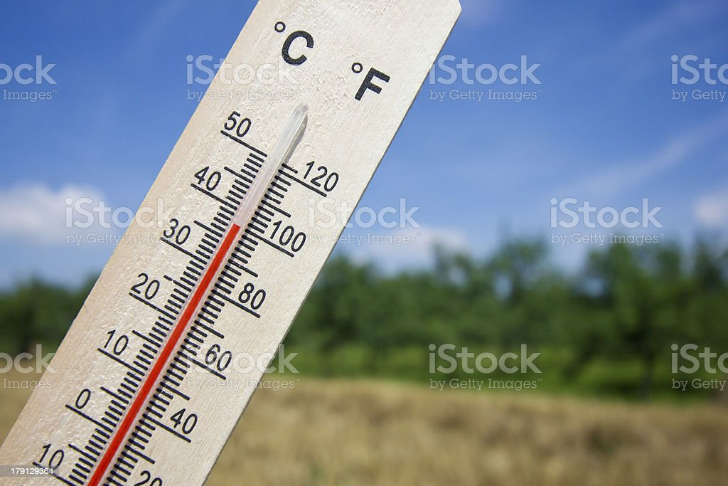 Summer heat shown on mercury thermometer with 100 degrees Fahrenheit stock photo