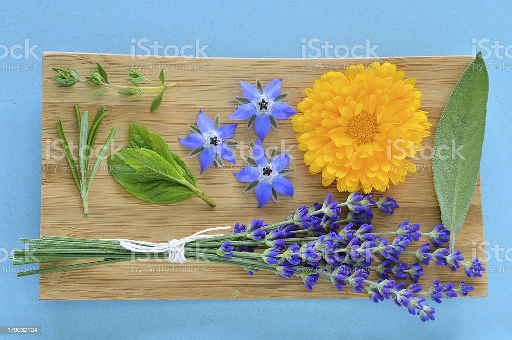 Summer herbs and edible flowers on wooden plate. royalty-free stock photo