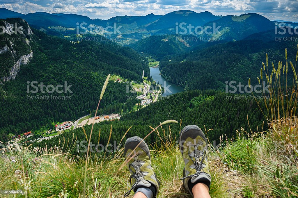 Summer hiking in the mountains stock photo