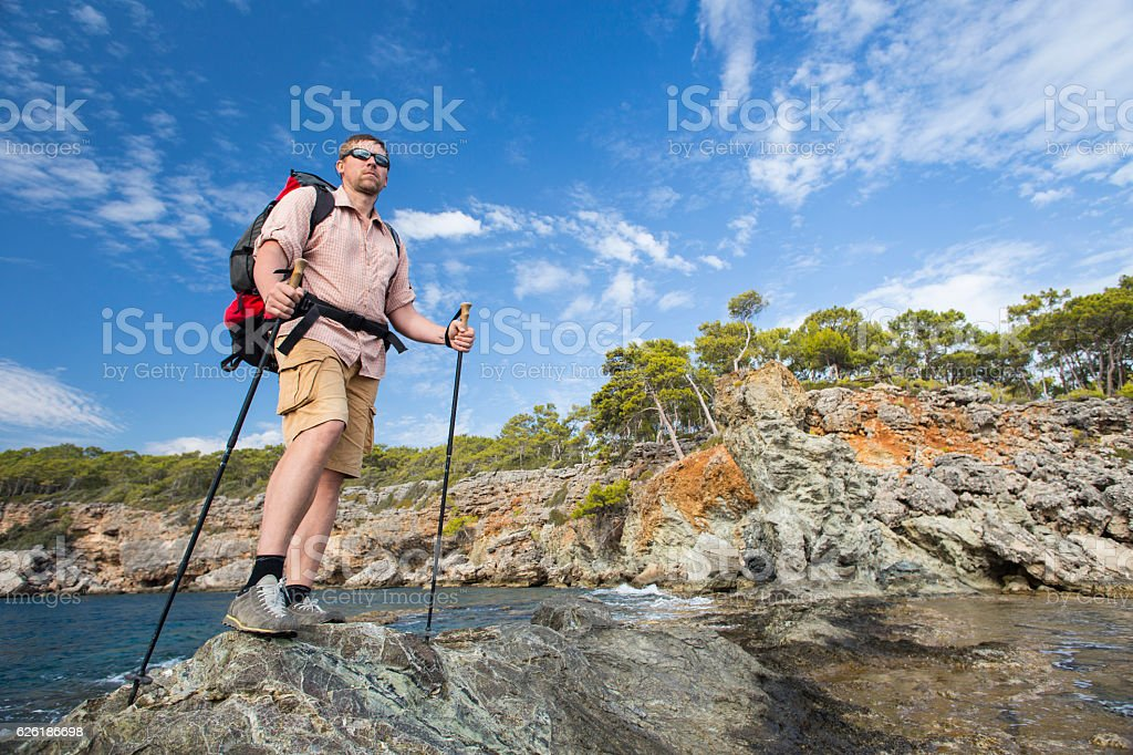 Summer hiking in the mountains. stock photo