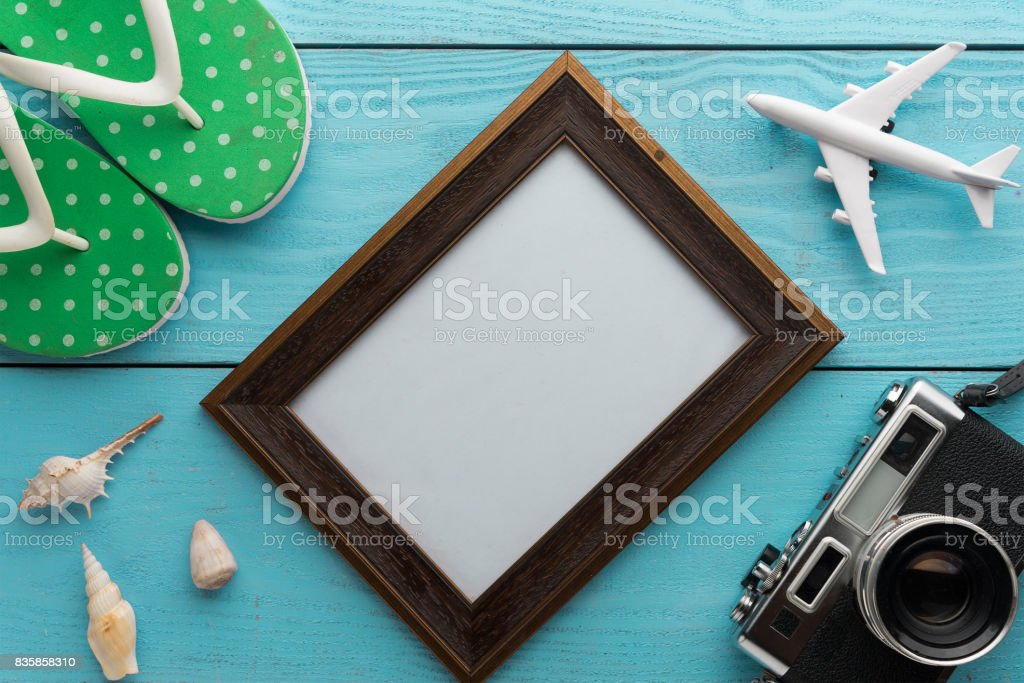 Summer holiday background, Travel and vacation items on wooden table. Top view stock photo