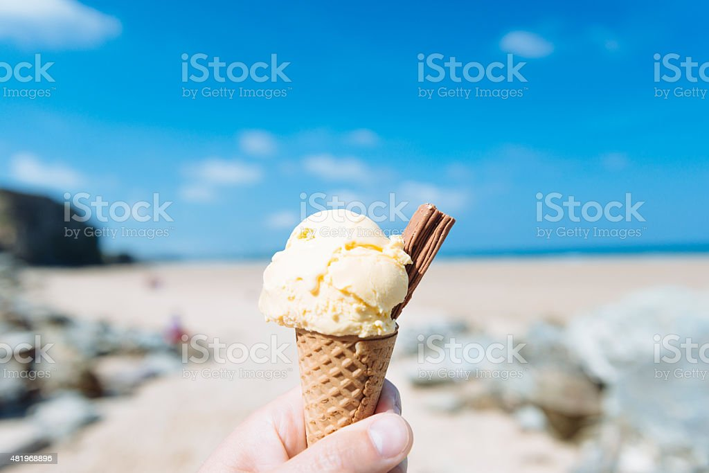 Summer Holiday Ice Cream at the Beach stock photo