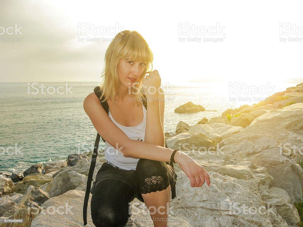 Summer holidays at sunset stock photo