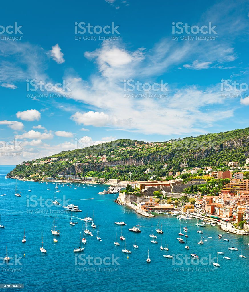 Summer holidays background with blue sky and sea stock photo