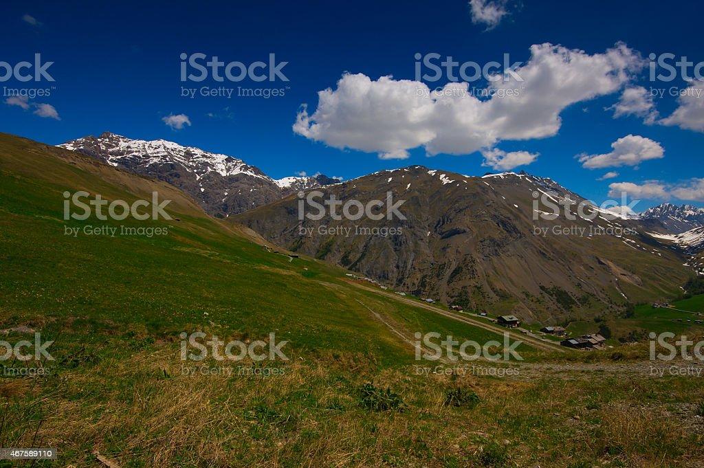 Summer holidays in the Italian alpine village stock photo
