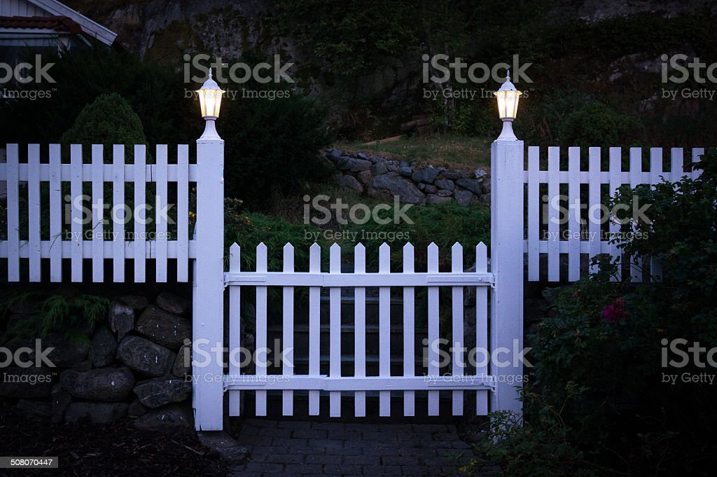 Summer house gate and fence royalty-free stock photo