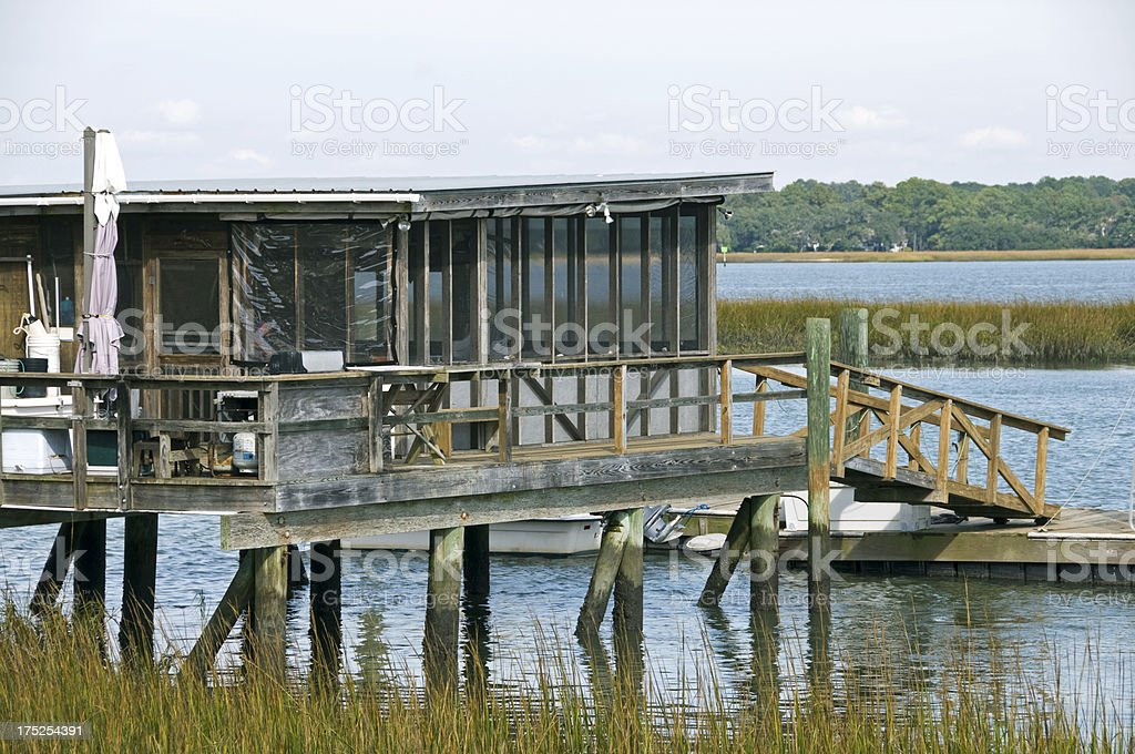 Summer house on estuary in Beaufort SC royalty-free stock photo